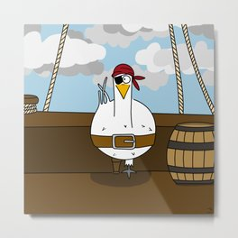 Eglantine la poule (the hen) disguised as a pirate. Metal Print
