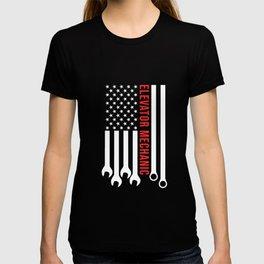 Elevator Mechanic Maintenance Flag Tools USA Technician design T-shirt