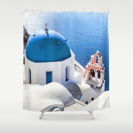 Blue and white church in Oia village, Santorini, Greece Shower Curtain