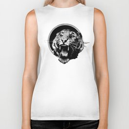 Vintage Tiger in black Biker Tank