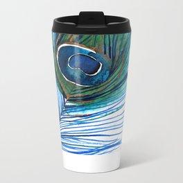 Peacock Feather Metal Travel Mug