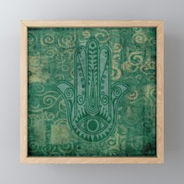 Teal Hand of Fatima Design Framed Mini Art Print