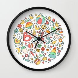 Baby themed round illustration. Children birthday party design. Wall Clock