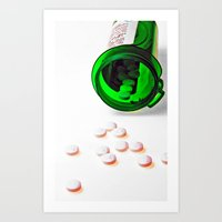 pills Art Prints featuring pills by Dusty Snowman