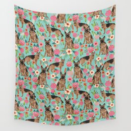 German Shepherd florals gifts for the dog lover dog breeds pet portrait dog art service dogs furbaby Wall Tapestry