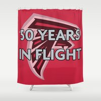 nfl Shower Curtains featuring NFL - Falcons 50 Years by Katieb1013