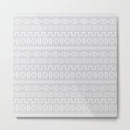 mudcloth white on grey Metal Print