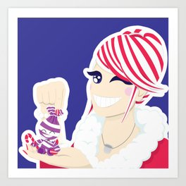 Candy Cane Girl Art Print