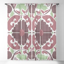 Mid Century Modern Flower Pattern Red and Green Sheer Curtain