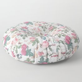 Romantic rustic vintage pink roses typography floral Floor Pillow