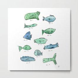 Scientific Fish-Blue Metal Print