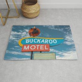 Buckaroo Motel Route 66 Vintage Neon Sign Nostalgia Rug