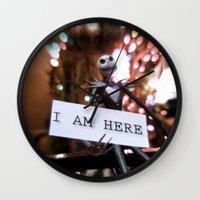 jack skellington Wall Clocks featuring Jack Skellington - I AM HERE by Midge