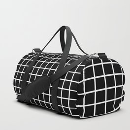 Back to School - Simple Grid Pattern - Black & White - Mix & Match  with Simplicity of Life Duffle Bag