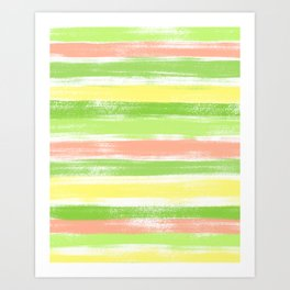 Green, Yellow and Peach Pastel Summer Stripe Pattern Abstract Art Print
