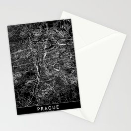 Prague Black Map Stationery Cards