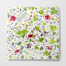 Leaves and flowers pattern (27) Metal Print
