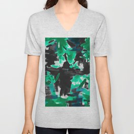 psychedelic vintage camouflage painting texture abstract in green and black Unisex V-Neck