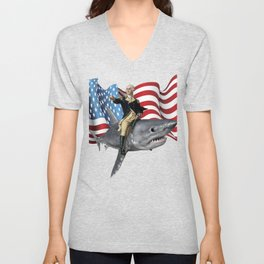 4th of July Washington Riding A Shark Patriotic Gift design Unisex V-Neck