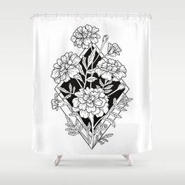 Geometric Marigold Flowers Shower Curtain