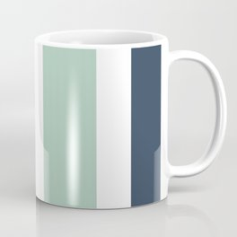 4 Stripe Minimalist Color Block Pattern in Blue, Golden Mustard and Aqua Mint on White Coffee Mug