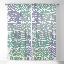 Wavy Tribal Lines with Shapes - Green Blue White Sheer Curtain