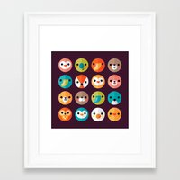 faces Framed Art Prints featuring SMILEY FACES 1 by Daisy Beatrice