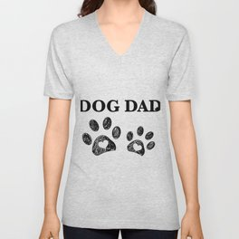 Paw print with hearts. Dog dad text. Happy Father's Day background Unisex V-Neck