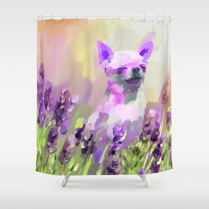 Chihuahua in Lavender Shower Curtain by donnadavisart | Society6