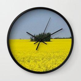 Canola Field, Alberta, Canada Wall Clock