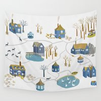 lama Wall Tapestries featuring BLUE VILLAGE by Ulrika Kestere