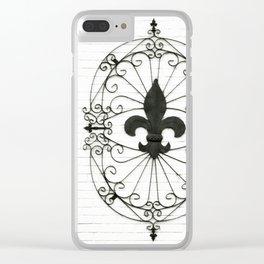 Wrought Iron Fleur de Lis Clear iPhone Case