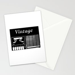 VINTAGE CASSETE TAPE PLAYER RADIO Stationery Cards