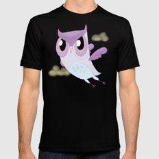 Purple Owl Black Mens Fitted Tee MEDIUM