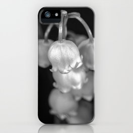 Black and white lily of the valley iPhone Case