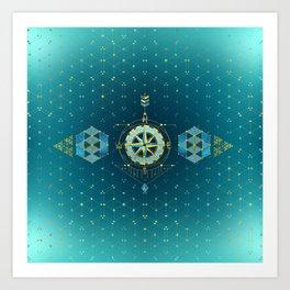 Decorative Sacred Geometry Compass Art Print