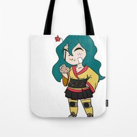 chibi Tote Bags featuring Chibi by K-Boomsky