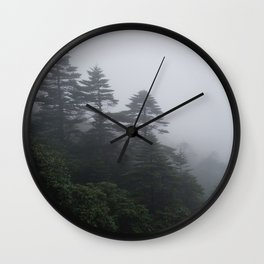 Evergreen Trees in the Mist of Yunnan, China Wall Clock