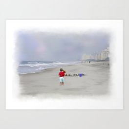 Teddy Bear and Sand Castles Art Print