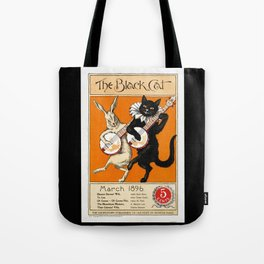 Black Cat for Halloween with Vampire Bunny Tote Bag