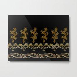 Muster Drachen - metallisch Metal Print