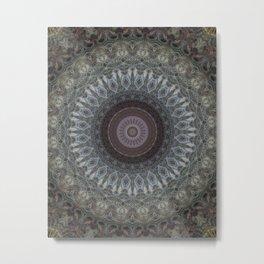 Mandala in grey and brown tones Metal Print