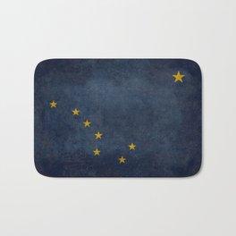 Alaskan State Flag, Distressed worn style Bath Mat
