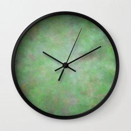Abstract Watercolor Blend 3 Deep Dark Green and Light Green Wall Clock