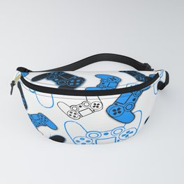 Video Games Blue on White Fanny Pack