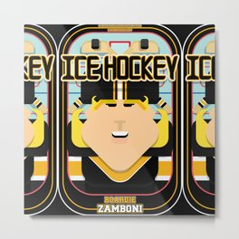 Ice Hockey Black and Yellow - Boardie Zamboni - Hazel version Metal Print