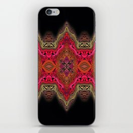 Elegant wavy pink stripes on black iPhone Skin