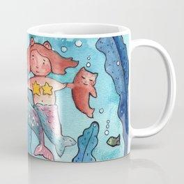 Mother, kid and cat mermaid Coffee Mug