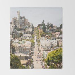 Climbing Hills in San Francisco Throw Blanket