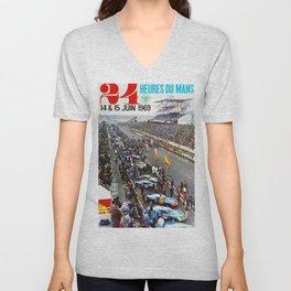 1969 Le Mans poster, Race poster, Car poster, vintage poster Unisex V-Neck